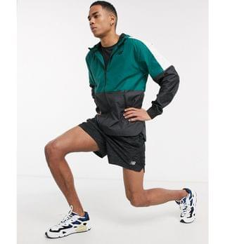 New Balance Running retro lightweight hooded jacket in color block green