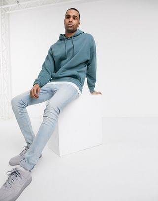 Tall oversized hoodie with t-shirt hem in gray blue