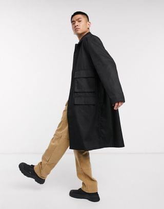 oversized trench coat with utility pockets in black
