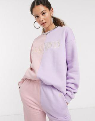 WOMEN Local Heroes oversized sweatshirt with front logo in pastel color block two-piece