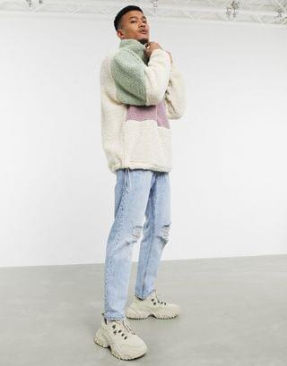 oversized teddy borg track top with half zip in pastel color block