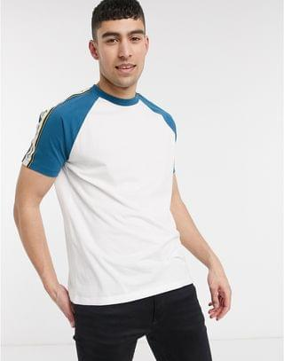 relaxed contrast raglan t-shirt with original text print taping in organic cotton