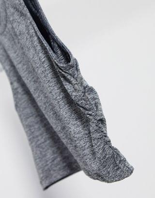 WOMEN two-piece crop tank with ruched side in gray marl