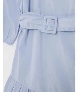 WOMEN New Look Tall belted poplin volume sleeve mini dress in light blue