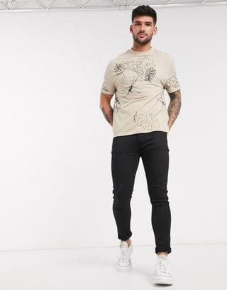 organic cotton relaxed t-shirt with all over line print and roll sleeve