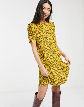 WOMEN Whistles trailing daisy floral print mini dress in yellow