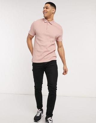 jersey waffle polo in pink