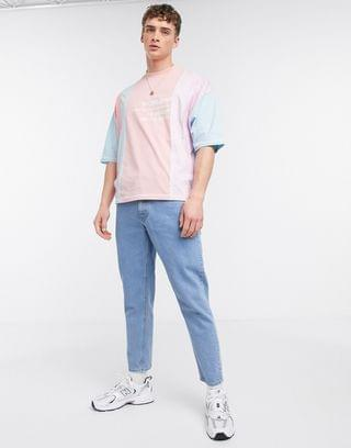 oversized color block t-shirt with splice detail and embroidery in pastel
