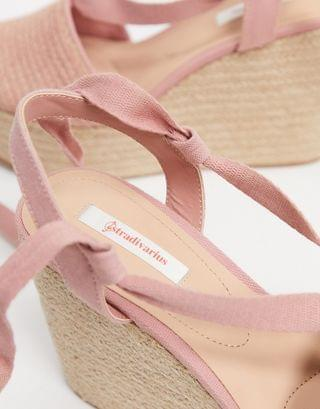 WOMEN Stradivarius lace up wedge in pink