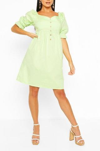 WOMEN Puff Sleeve Button Detail Midi Skater Dress