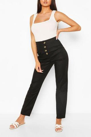 WOMEN Stretch Cotton Button Front Skinny Trousers