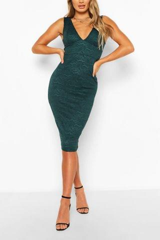 WOMEN V-neck Bodycon Midi Dress