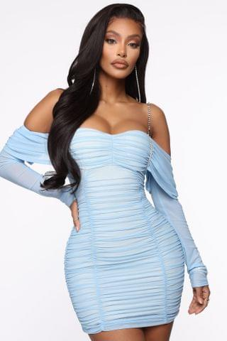 WOMEN Ella After Party Ruched Mini Dress - Blue