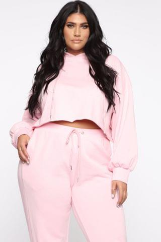 WOMEN Don't Miss You Lounge Cropped Hoodie - Pink