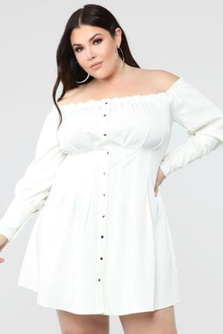 WOMEN Gaze At Me Off Shoulder Dress - White