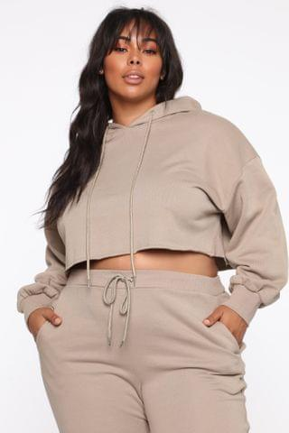 WOMEN Don't Miss You Lounge Cropped Hoodie - Mocha
