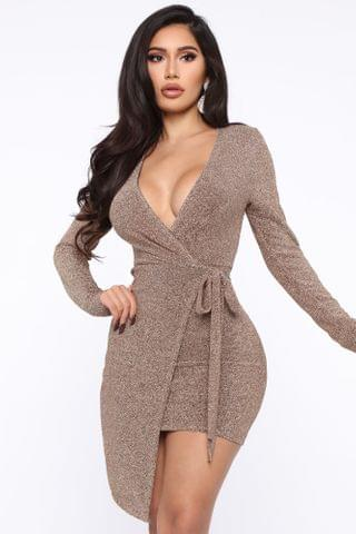 WOMEN Hit The Jackpot Metallic Mini Dress - Gold
