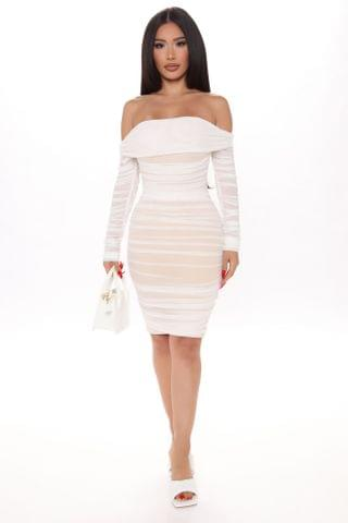 WOMEN Ready In A Ruched Off Shoulder Midi Dress - White