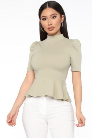 WOMEN Just Roll With It Short Sleeve Peplum Top - Sage