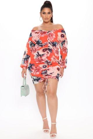 WOMEN Such A Mesh Floral Dress - Coral/combo