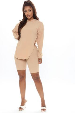 WOMEN Cutting Corners Biker Short Set - Taupe