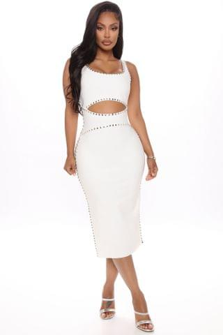 WOMEN Give Me Your All Bandage Midi Dress - White
