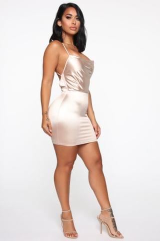 WOMEN Coming Out Satin Mini Dress - Champagne