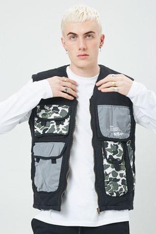 MEN Reason Reflective Camo Cargo Pocket Vest