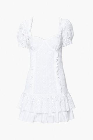 WOMEN Eyelet Ruffle-Trim Mini Dress