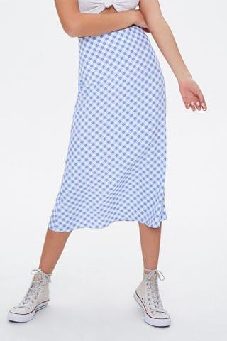 WOMEN Gingham Midi Skirt