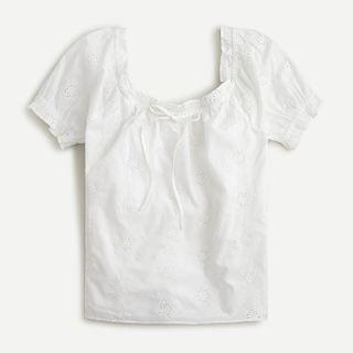 WOMEN Square-neck top with embroidered eyelet