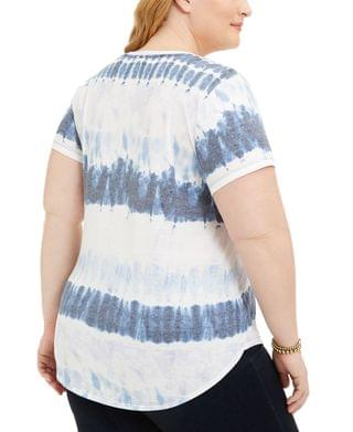 WOMEN Plus Size Tie-Dyed V-Neck T-Shirt, Created for Macy's