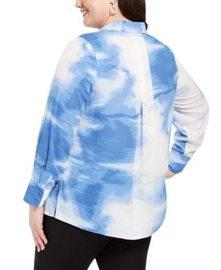 WOMEN Plus Size Tied-Dyed Oversized Blouse, Created for Macy's