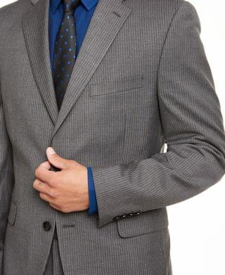 MEN Alfani Men's Red Slim-Fit Performance Stretch Stripe Suit Separate Jacket, Created for Macy's