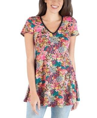 WOMEN Flared Tunic Top with V-Neck Floral Design