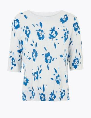 WOMEN Linen Floral Relaxed Knitted Top
