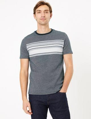 MEN Pure Cotton Chest Stripe Knitted T-Shirt