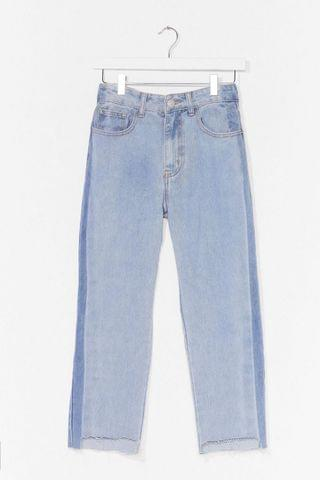 WOMEN Mom Knows Best Two-Tone Distressed Jeans