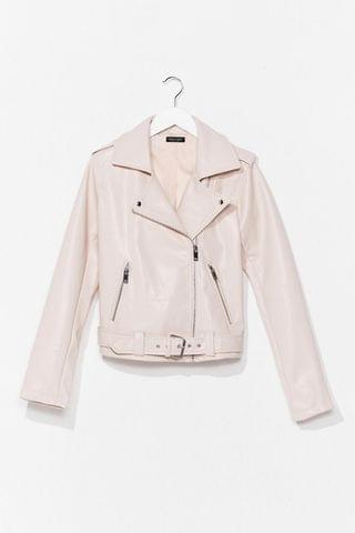 WOMEN That's Our Moto Belted Faux Leather Jacket