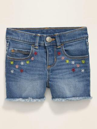 KIDS Floral-Embroidered Jean Cut-Off Shorts for Toddler Girls