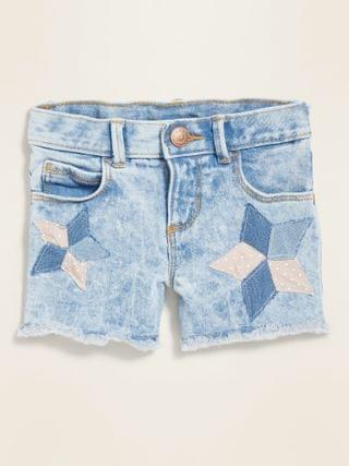 KIDS Star-Patchwork Cut-Off Jean Shorts for Toddler Girls