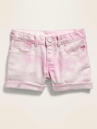 KIDS Pink Tie-Dyed Jean Shorts for Toddler Girls