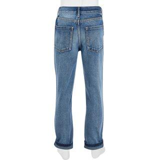 KIDS Girls blue ripped Mom high rise jeans