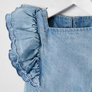 KIDS Mini girls blue broderie frill denim outfit