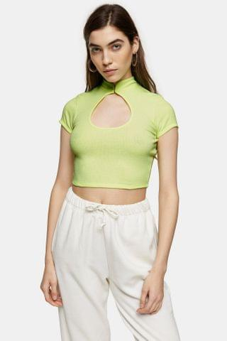 WOMEN TALL Green Ribbed Cut Out Crop Top