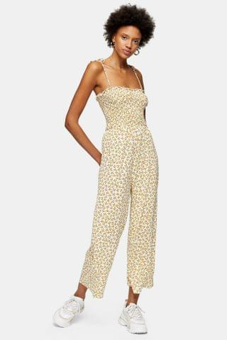 WOMEN Yellow Strappy Floral Print Jumpsuit
