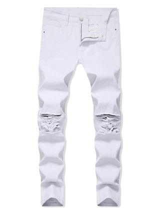 MEN Solid Color Ripped Design Zip Fly Jeans - White 34