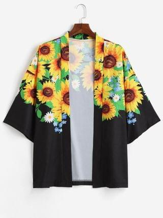 MEN Sunflower Printed Open Front Kimono Cardigan - Multi-a 2xl
