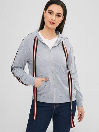 WOMEN Zip Striped Trim Pocket Hoodie - Gray L