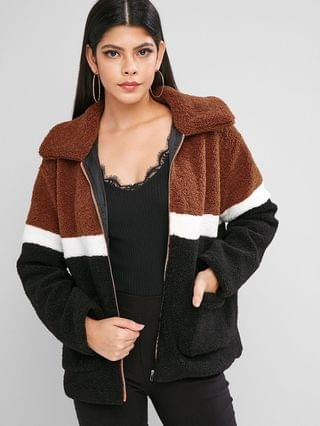 WOMEN Zip Front Colorblock Patched Pockets Teddy Jacket - Multi-a L